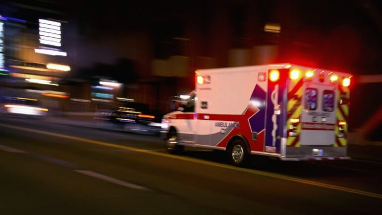 Ambulance, concept of rear-end collision in Arkansas on I-40